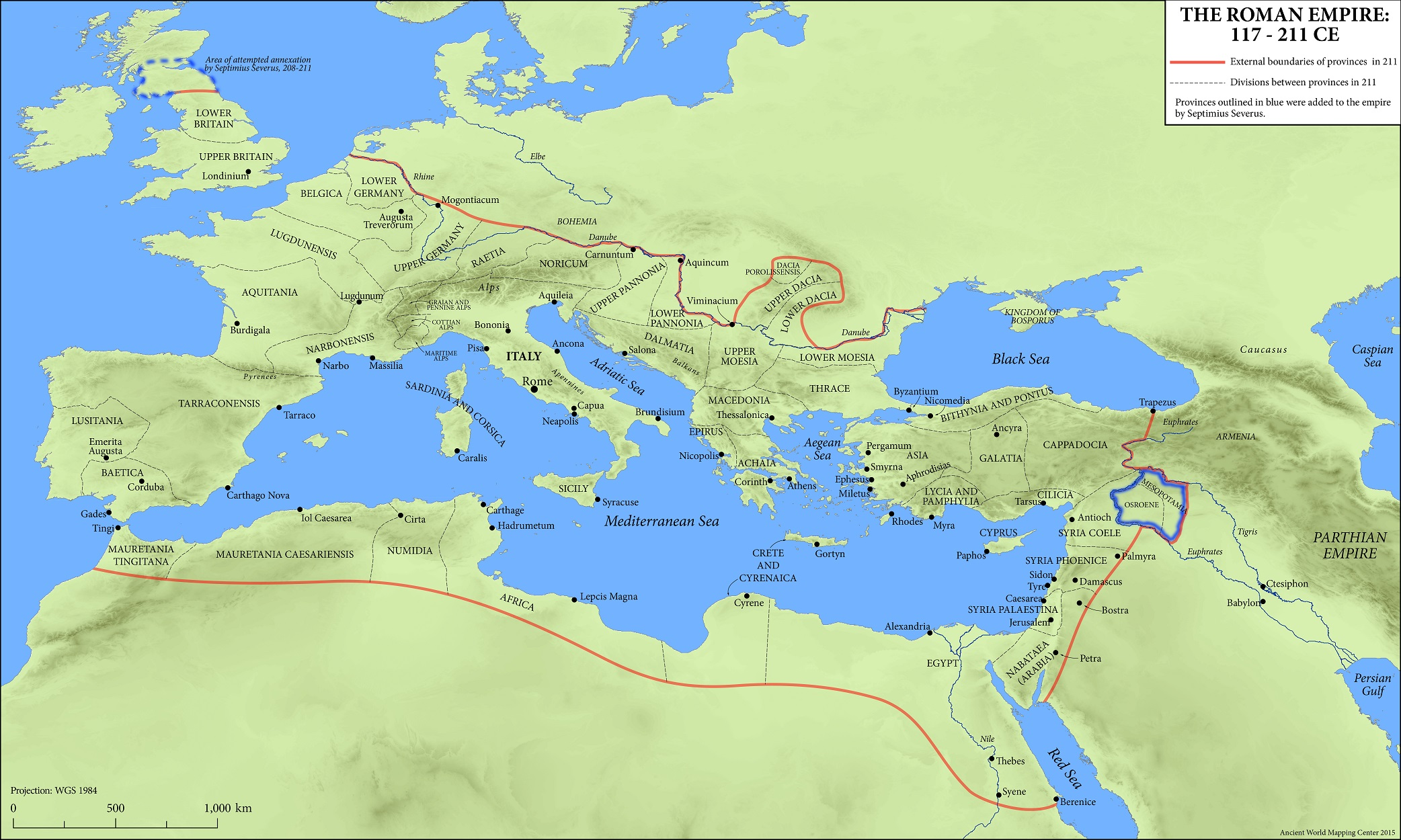 The Roman Empire Map Map: The Roman Empire, 117 211 CE   Oxford Classical Dictionary